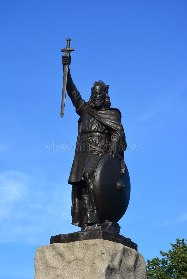 Statue of King Alfred the Great. One of the most easily recognisable landmarks in Winchester is the striking statue of King Alfred the Great, which stands at the stock image