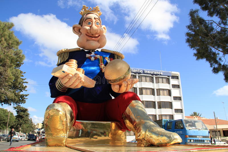 Statue of the King on Carnival Procession. stock photo
