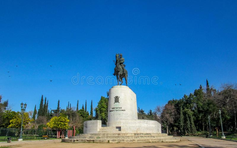 Statue of king Constantine on a horse at the central entrance of Pedio tou Areos, Athens, Greece stock image