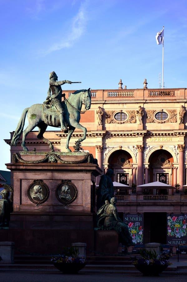 Statue of King Gustav II Adolf Adolph at Gustav Adolf`s Square in central Stockholm, Sweden stock image