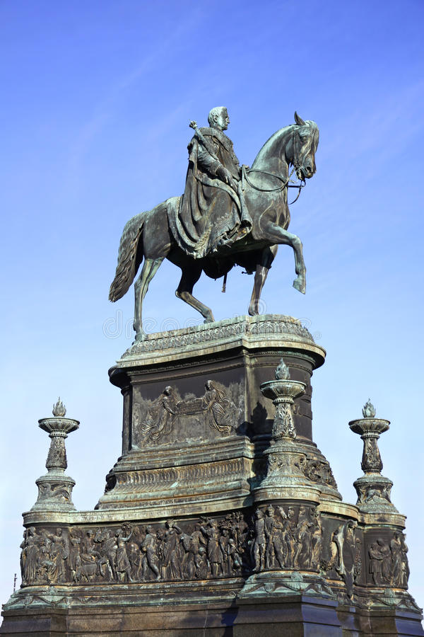 Statue of King John of Saxony in Dresden stock photos
