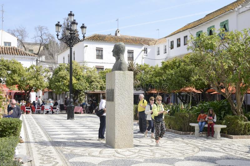 Statue of King Juan Carlos I at the plaza of the Orange Tree royalty free stock image