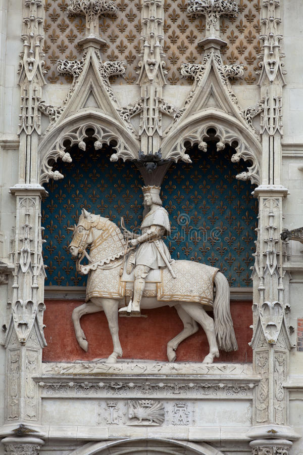 Statue of King Louis XII on the entrance to Chateau de Blois. Loire Valley, France royalty free stock photography