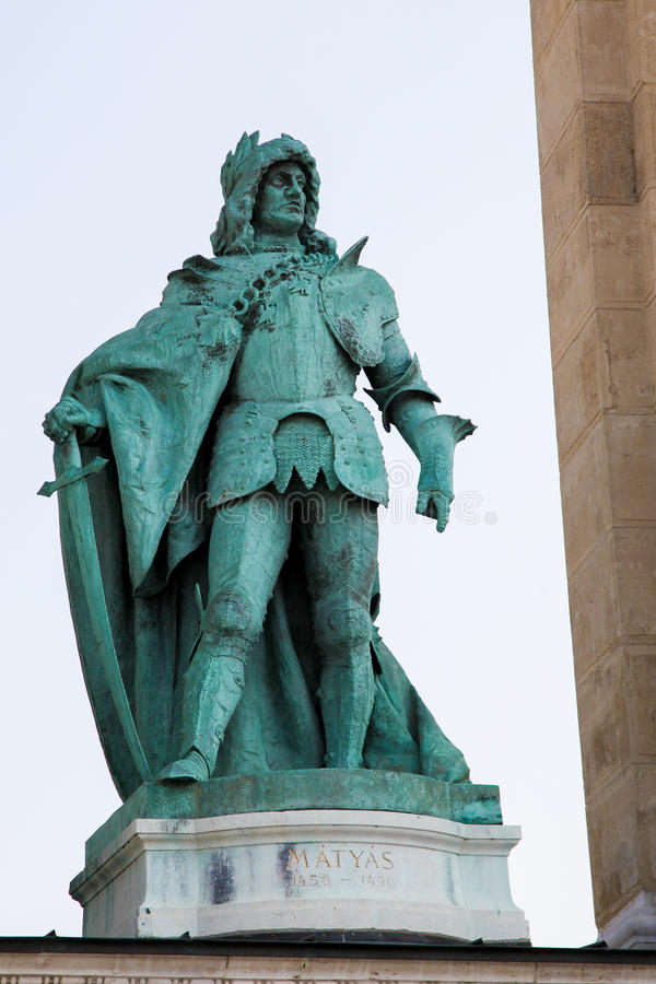 Statue of King Matthias Corvinus in Budapest, Hungary stock images