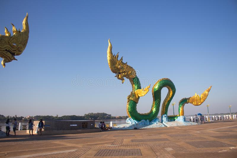 The Statue of King of Nagas Symbol is a holy Image that the buddhist worship with faith. royalty free stock images