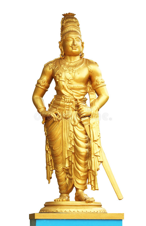 The statue of king raja raja cholan. On isolated white background royalty free stock photography