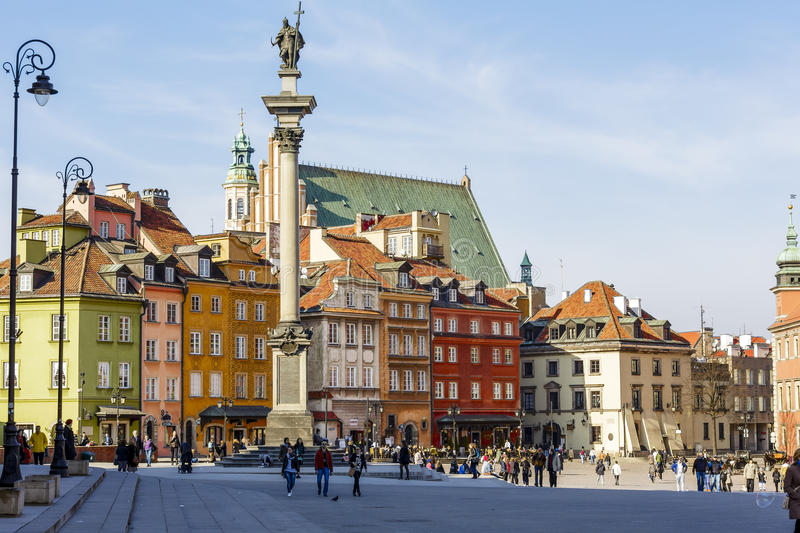 Statue of King Zygmunt III Waza and Castle Square royalty free stock photo
