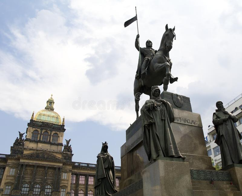 Statue of knight Saint Wenceslas in Prague and national museum wide view. Statue of Saint Wenceslas in Prague and national museum on the background. In center of royalty free stock image