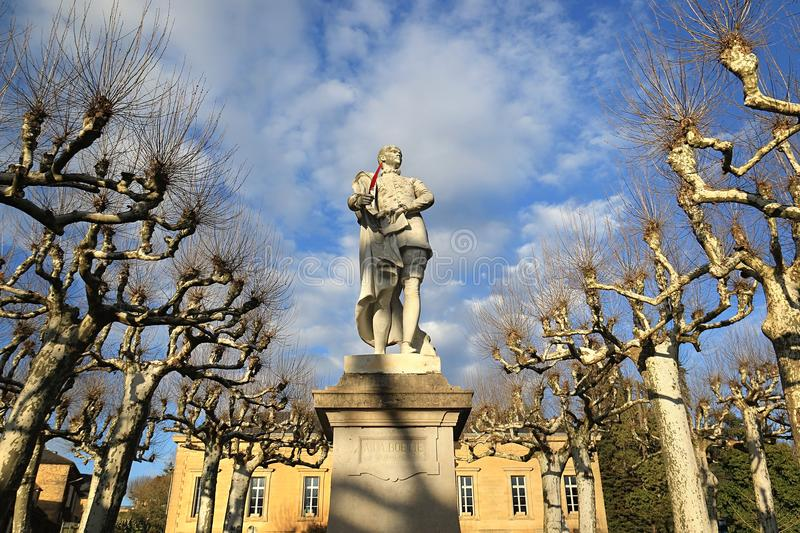 Statue of La Boetie in Sarlat-La-Caneda. Friend of Michel de Montaigne and writer, judge, and founder of modern political philosophy in France. Dordogne stock image