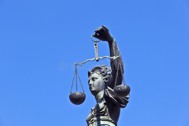 Statue of Lady Justice. In front of the Romer in Frankfurt - Germany royalty free stock photo