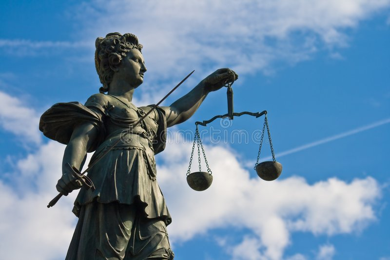 Statue of Lady Justice in Frankfurt royalty free stock photography