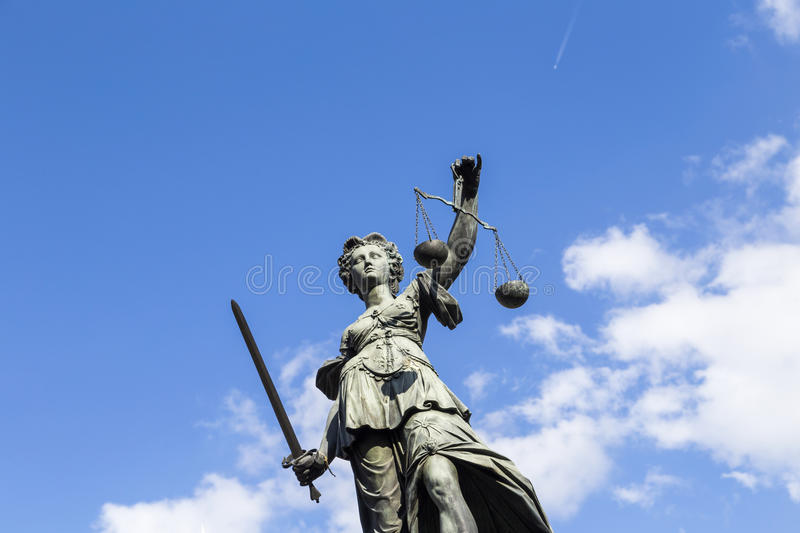 Statue of Lady Justice in Frankfurt, Germany stock photography