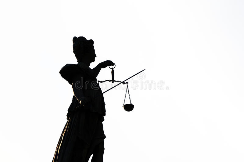 Statue of Lady Justice in Frankfurt am Main. Statue of Lady Justice in front of the Roemer in Frankfurt am Main - Germany royalty free stock photo