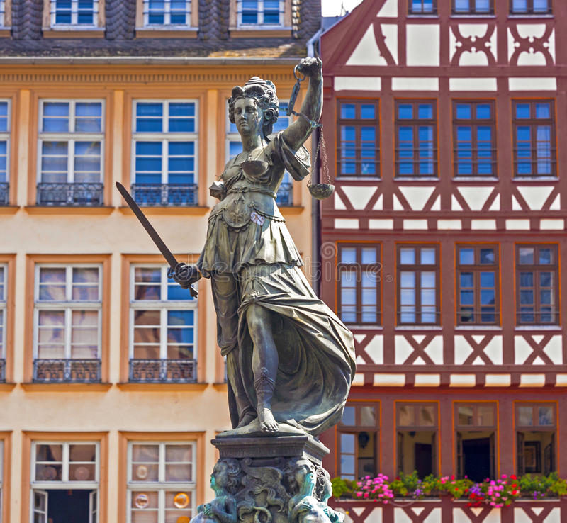 Statue of Lady Justice in Frankfurt am Main. Statue of Lady Justice in front of the Roemer in Frankfurt am Main, Germany stock photo