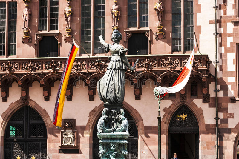 Statue of Lady Justice in Frankfurt am Main. Statue of Lady Justice in front of the Roemer in Frankfurt am Main, Germany royalty free stock images
