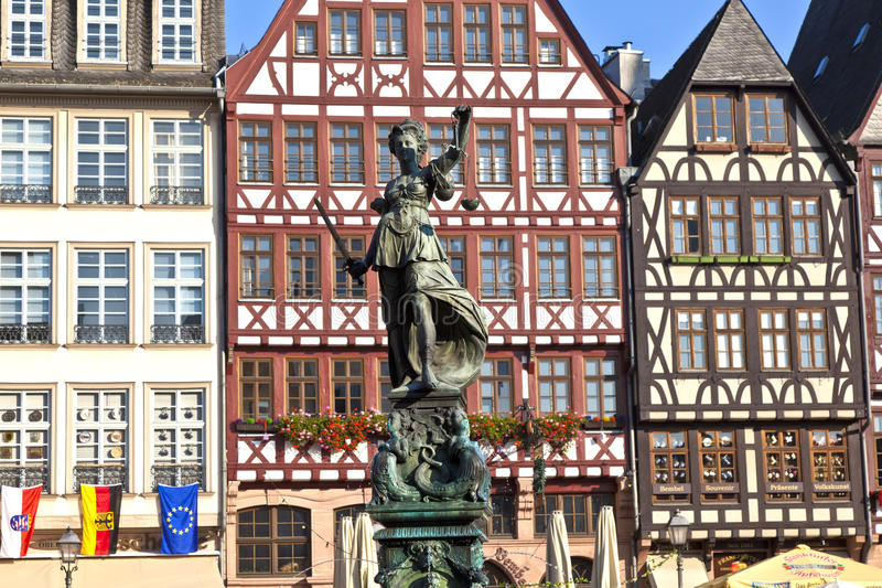 Statue of Lady Justice in front. Of the Romer in Frankfurt - Germany stock photo