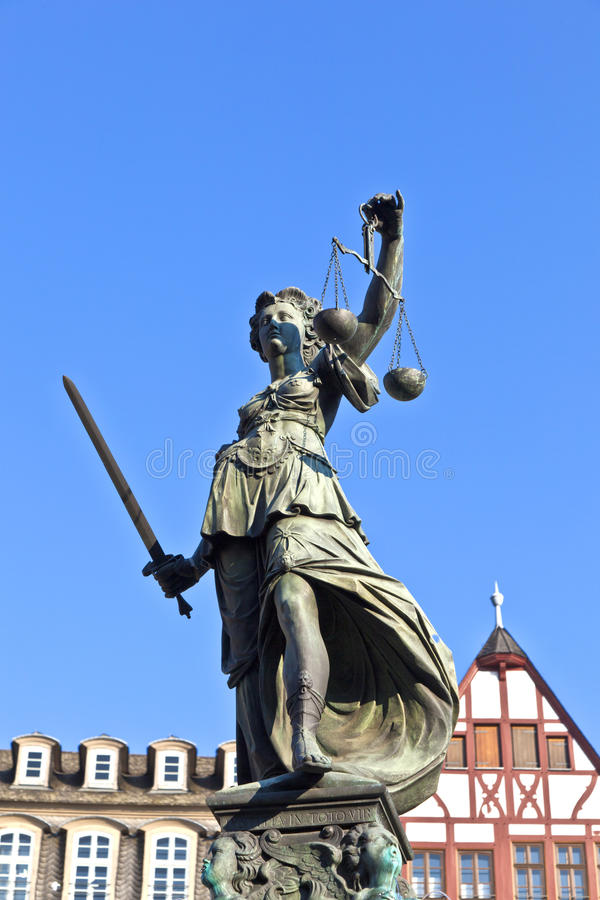 Statue of Lady Justice in front. Of the Romer in Frankfurt - Germany stock images