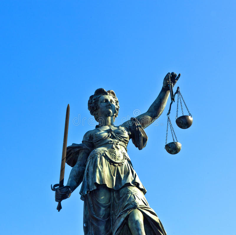 Statue of Lady Justice in front. Of the Romer in Frankfurt - Germany royalty free stock photography