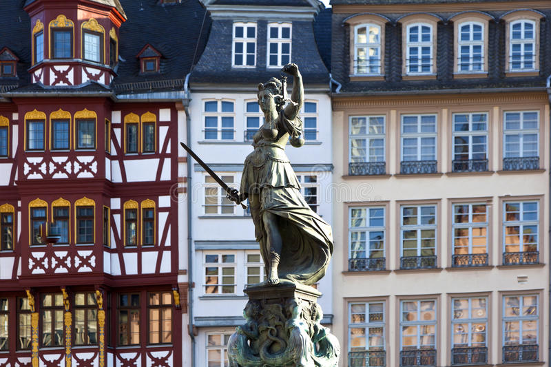 Statue of Lady Justice in front of the Romer. In Frankfurt - Germany stock image