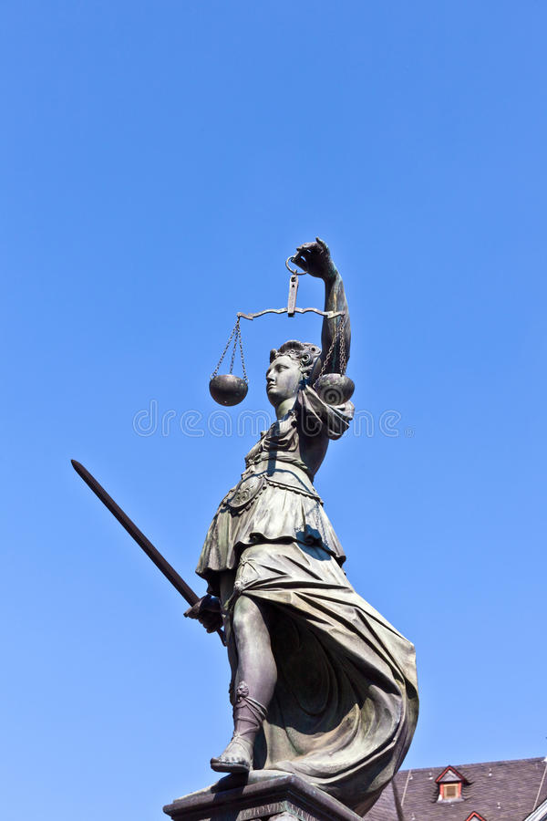 Statue of Lady Justice in front. Of the Romer in Frankfurt - Germany stock image