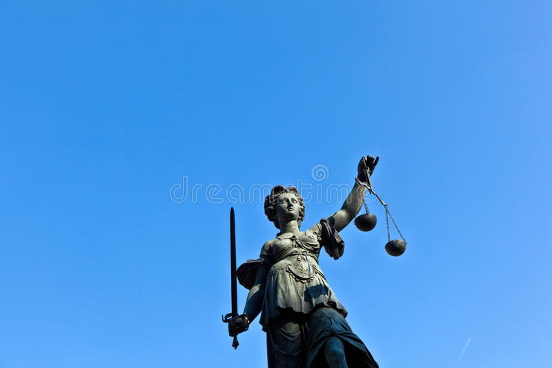 Statue of Lady Justice in front. Of the Romer in Frankfurt - Germany stock photos