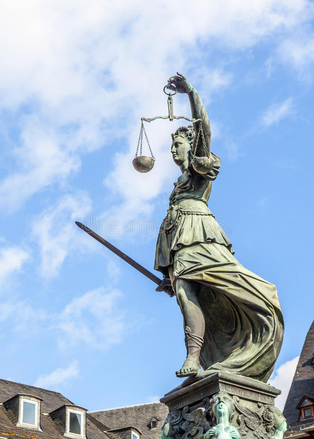 Statue of Lady Justice in front. Of the Romer in Frankfurt - Germany stock photography