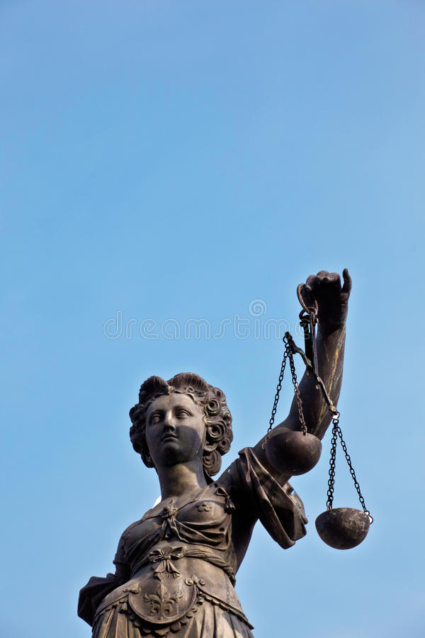 Statue of Lady Justice in front of the Romer in Frankfurt. Germany stock photos