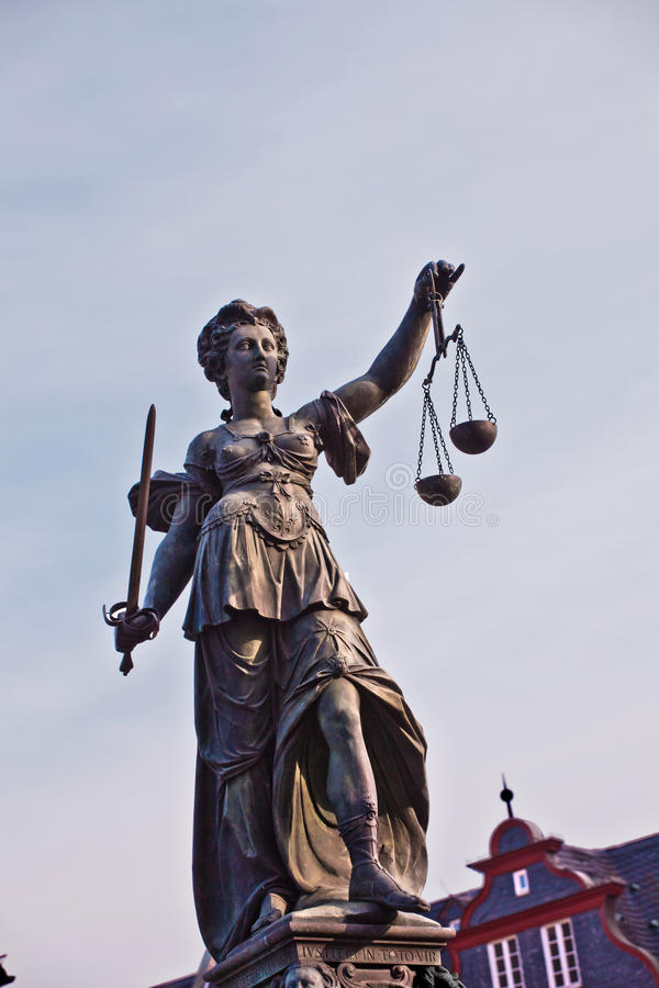 Statue of Lady Justice in front of the Romer in Frankfurt. Germany stock photography