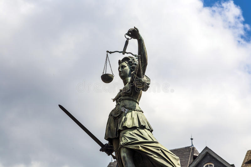 Statue of Lady Justice in front of the Romer in Frankfurt. Germany stock photo