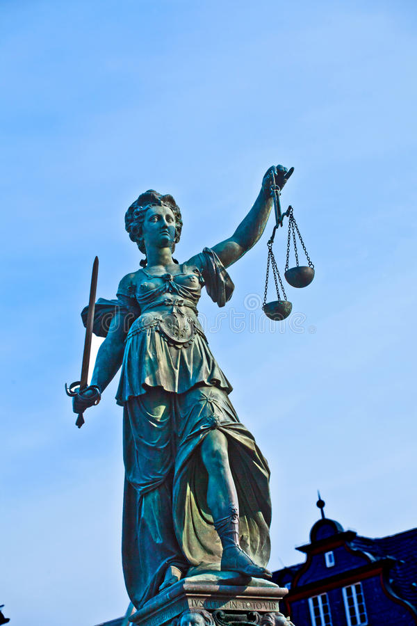 Statue of Lady Justice in front of the Romer in Frankfurt. Germany stock images