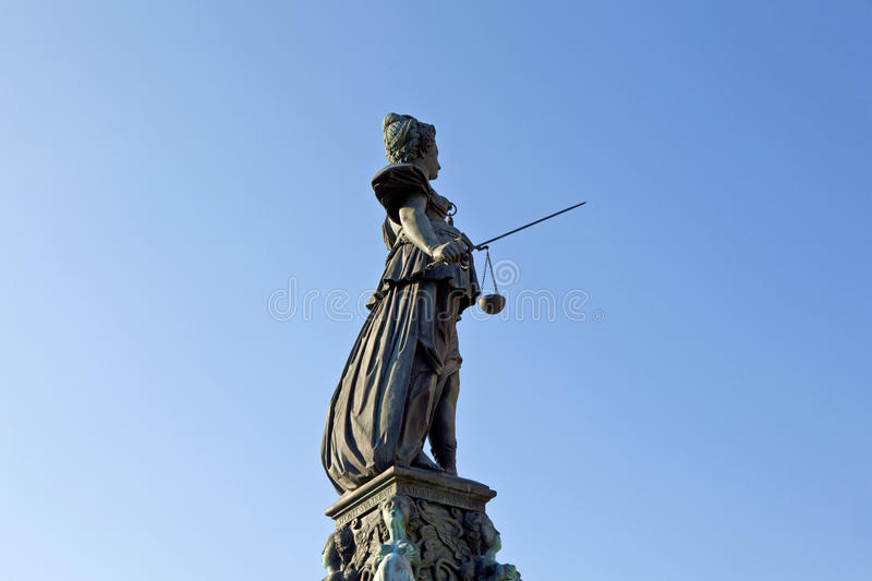 Statue of Lady Justice in front of the Romer in Frankfurt. Germany stock image