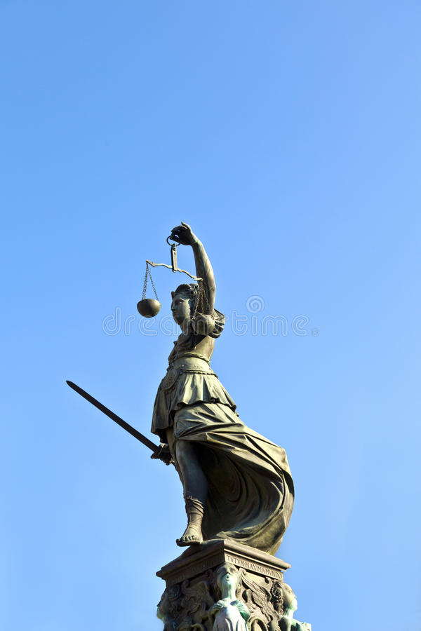 Statue of Lady Justice in front of the Romer. In Frankfurt - Germany stock images