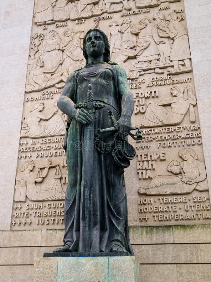 Statue of Lady Justice, Porto, Portugal stock images