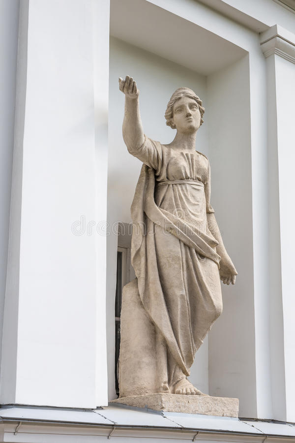 Statue of Latona in the niche of the Kitchen Corps of the Elagin Island Palace and Park Complex in St. Petersburg. The Goddess Latona. Statue of Pudozh stone in stock image