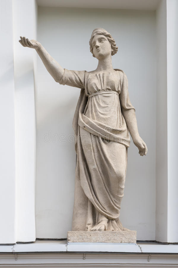 Statue of Latona in the niche of the Kitchen Corps of the Elagin Island Palace and Park Complex in St. Petersburg. The Goddess Latona. Statue of Pudozh stone in royalty free stock photography