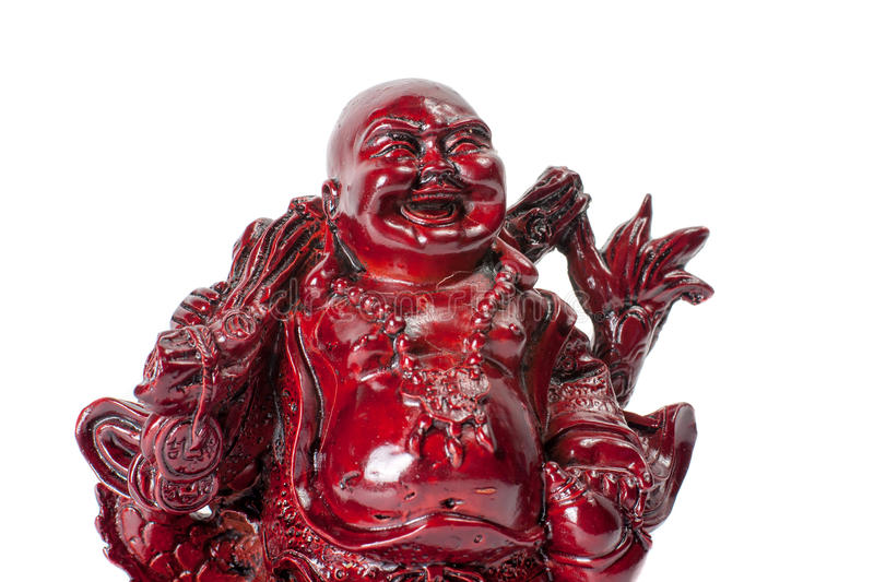 Statue laughing Buddha - Budai or Hotei. isolated cheerful monk. Statue laughing Buddha - Budai or Hotei. Cheerful monk with dragon isolated on white background royalty free stock photography