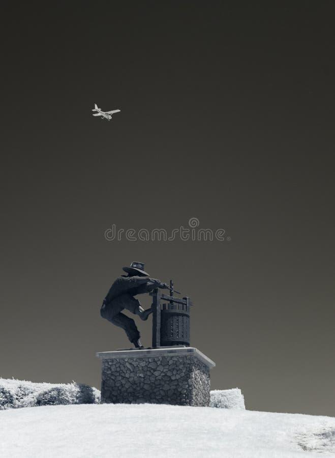 Statue, le broyeur de raisin, noir et blanc photos stock