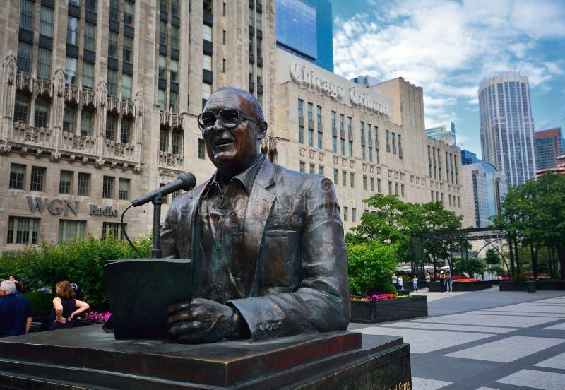 Statue of legendary Chicago broadcaster Jack Brickhouse. Chicago, Illinois - July 15, 2017: Statue of legendary Chicago broadcaster Jack Brickhouse in Pioneer stock photos