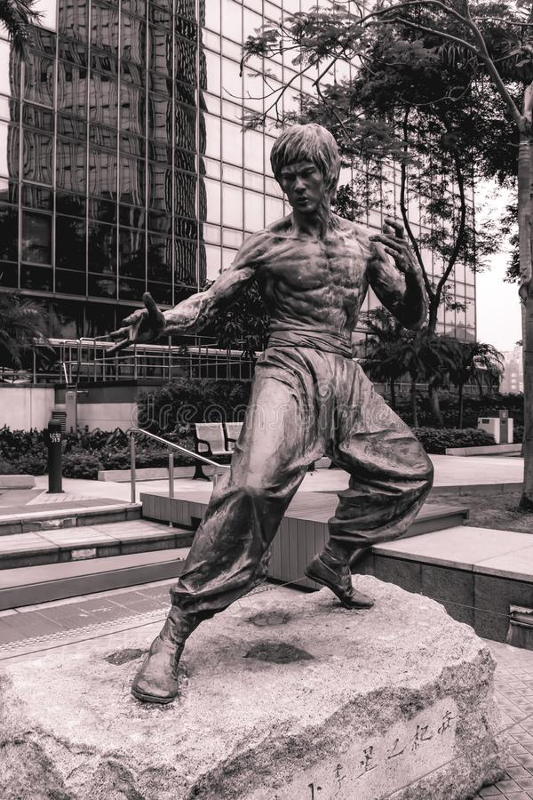 Statue of kung fu movie actor Bruce Lee in Hong Kong China stock images