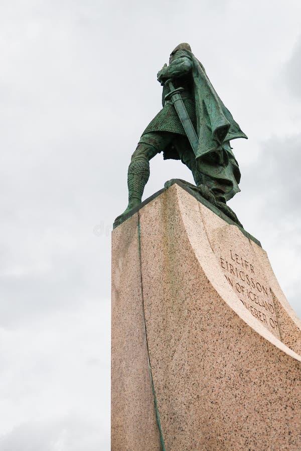 Statue of Leifur Eiriksson on Skolavorduholt hill stock images