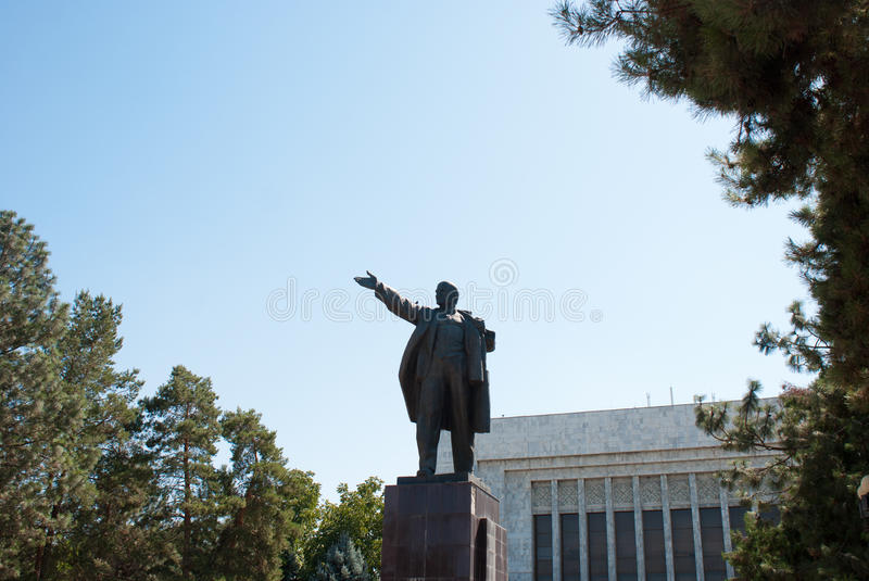 Statue of Lenin in Central Asia. Statue of Lenin in the capital town of Bishkek in Central Asia royalty free stock photography
