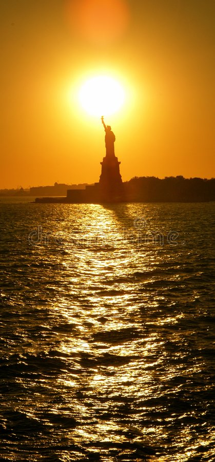 Download Statue of Libert sunset stock photo. Image of distant, large - 403032