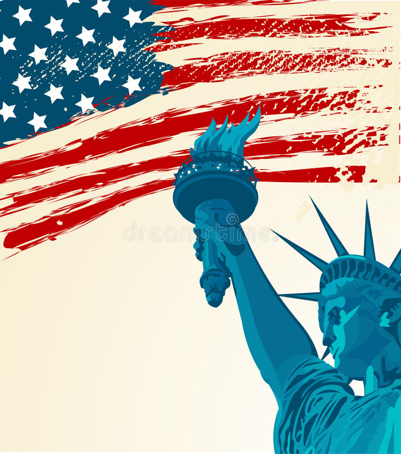Statue of liberty. A grunge american flag with the statue of liberty stock illustration