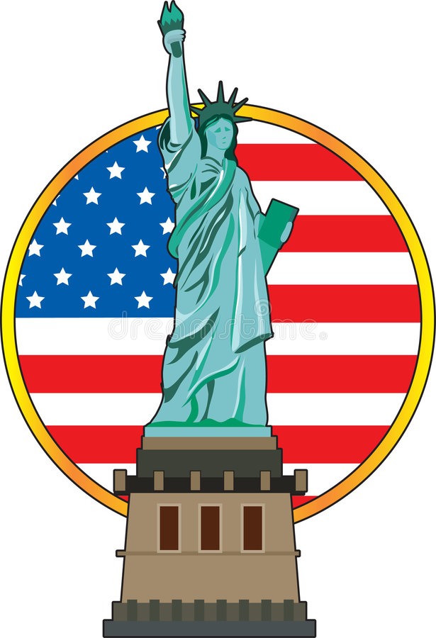 Statue of Liberty. The Statue of Liberty with the American flag in the background stock illustration