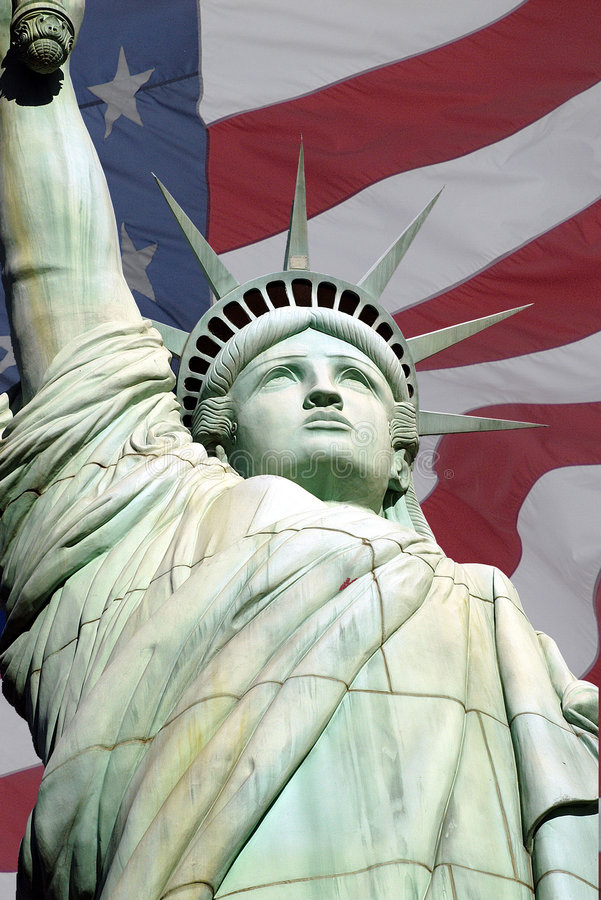Statue of Liberty 2 and usa flag royalty free stock photography