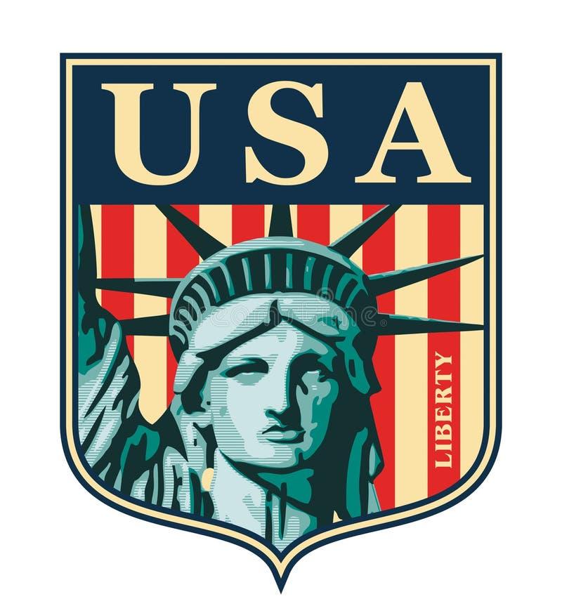 Statue of Liberty. New York landmark and symbol of Freedom and Democracy stock illustration