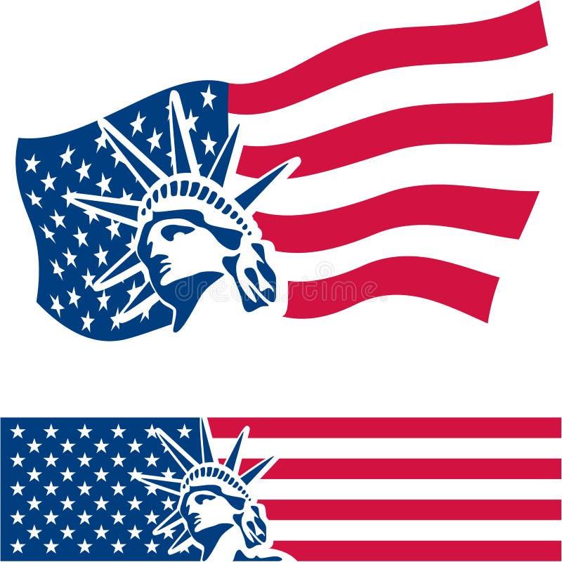 Statue of Liberty. American symbol. American flag. USA. Freedom royalty free illustration
