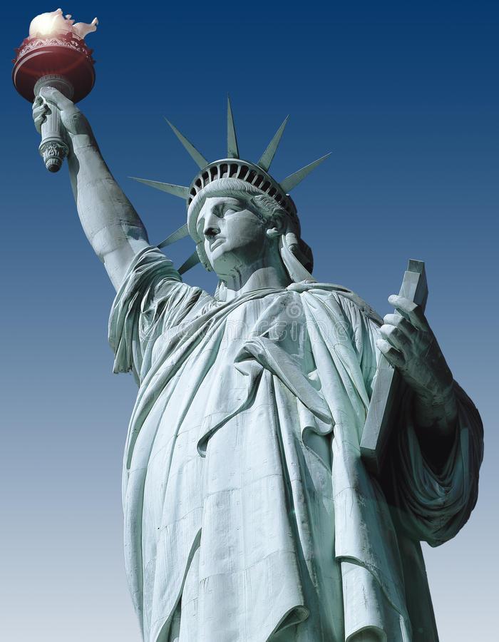Statue of liberty. On blue background royalty free illustration