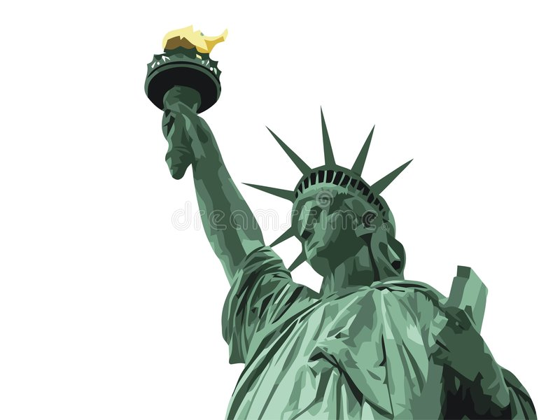 Statue of the liberty. N the white background