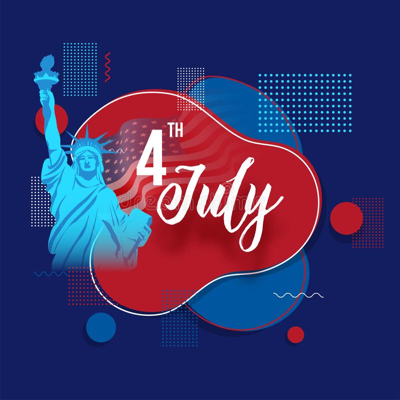Statue Of Liberty and abstract elements on blue background for 4th Of July. royalty free illustration